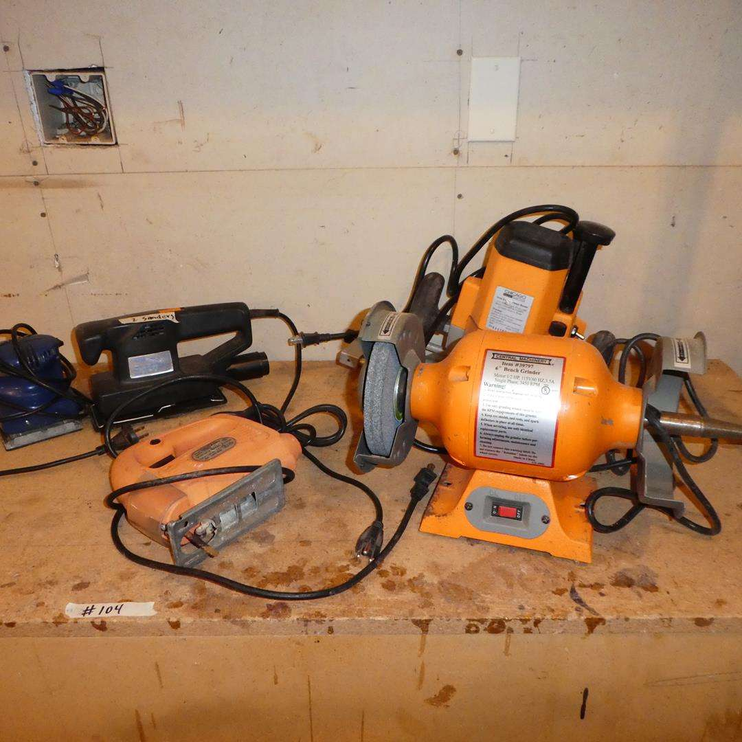 "Lot # 104 - 6"" Bench Grinder, Plunge Router, Jigsaw & Two Sanders (main image)"