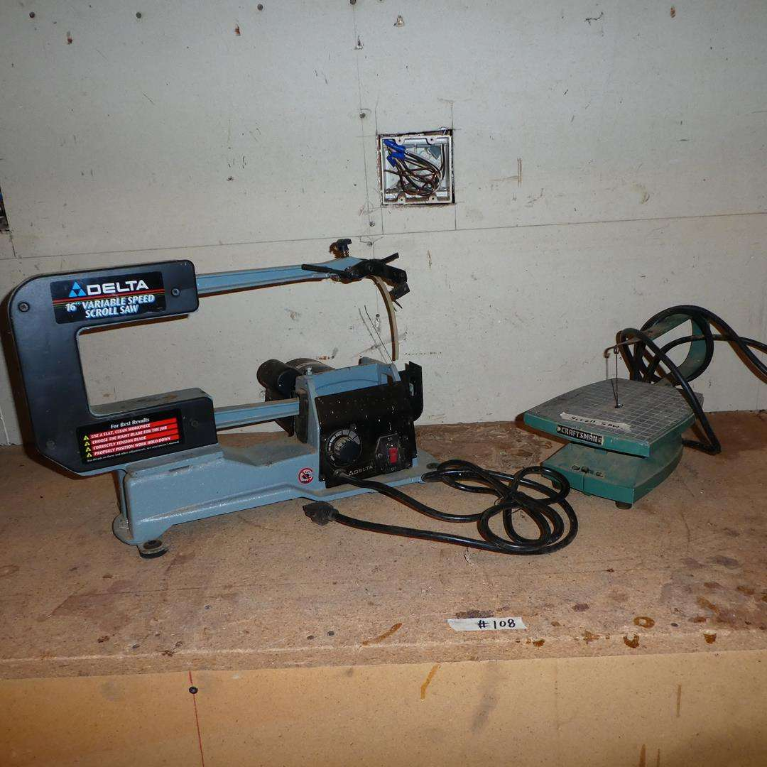 """Lot # 108 - Delta 16"""" Variable Speed Scroll Saw & Small Craftsman Scroll Saw (main image)"""
