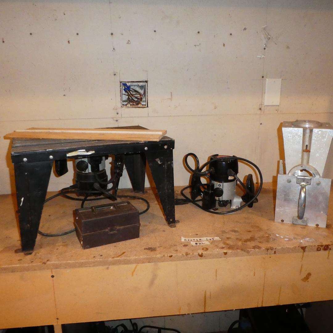 Lot # 112 - Bench Top Router Table, Routers & Bits  (main image)