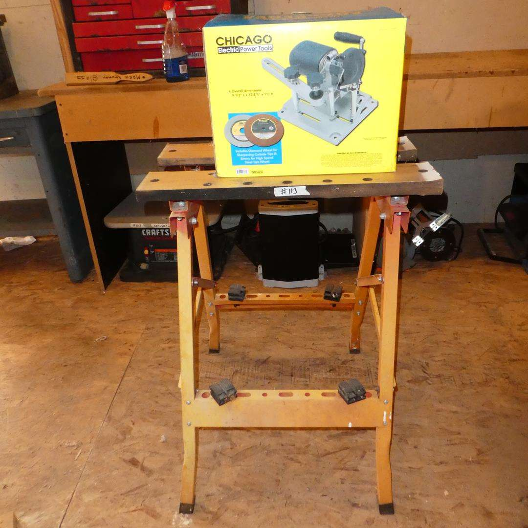 Lot # 113 - Saw Blade Sharpener (NIB) & Work Stand (main image)