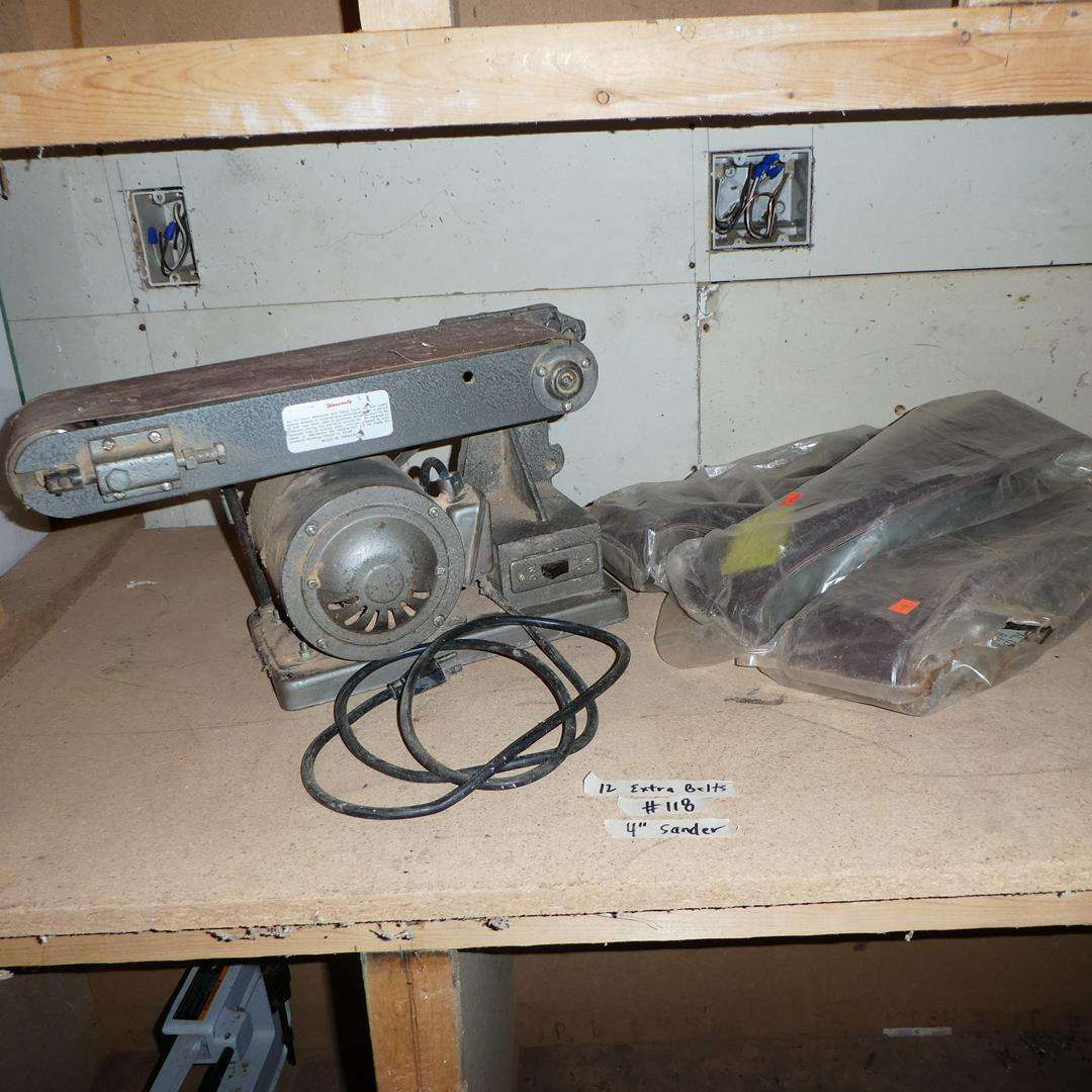 "Lot # 118 - 4"" Belt Sander & Twelve Extra Belts (main image)"