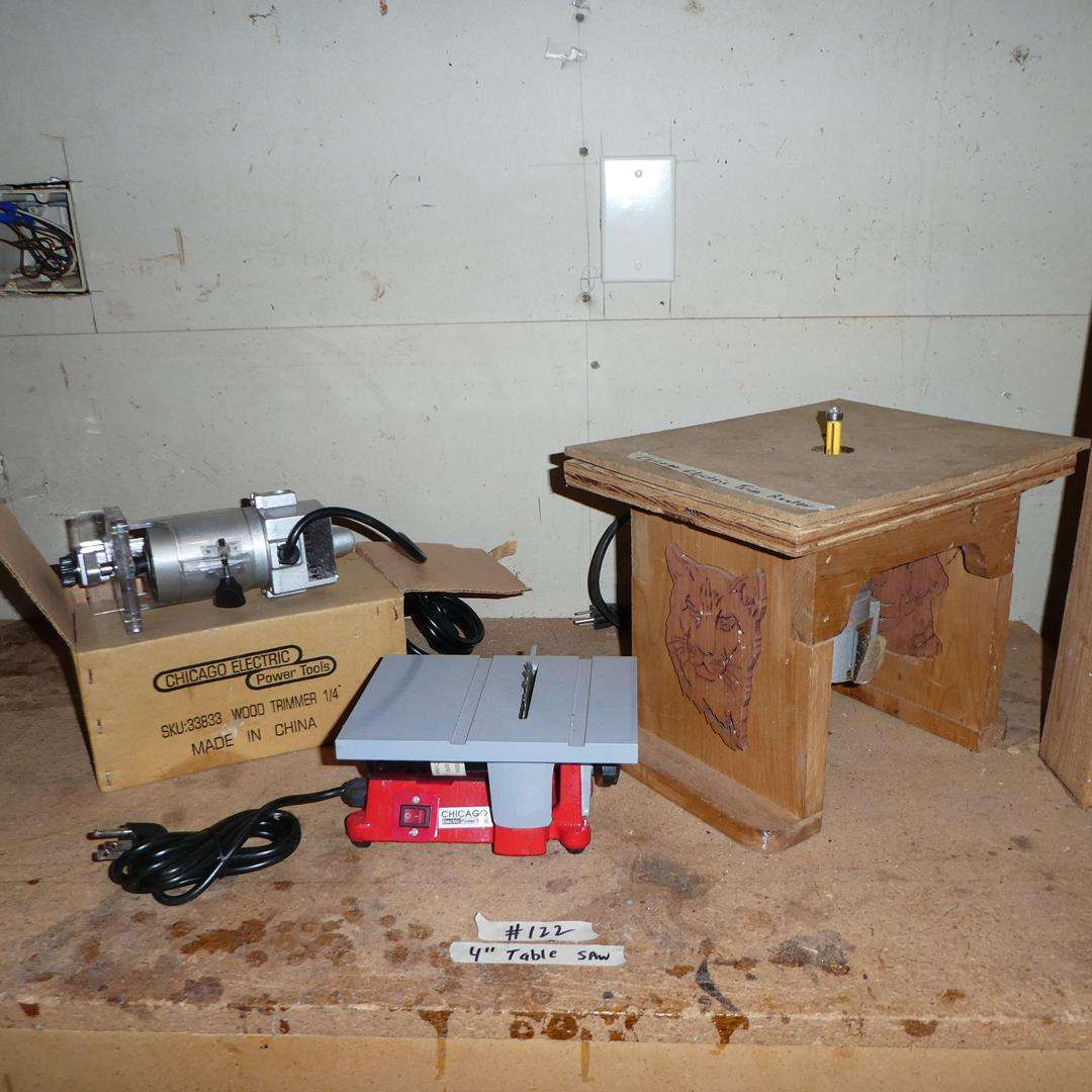 """Lot # 122 - 4"""" Table Saw, Trim Router & Wood Trimmer (main image)"""