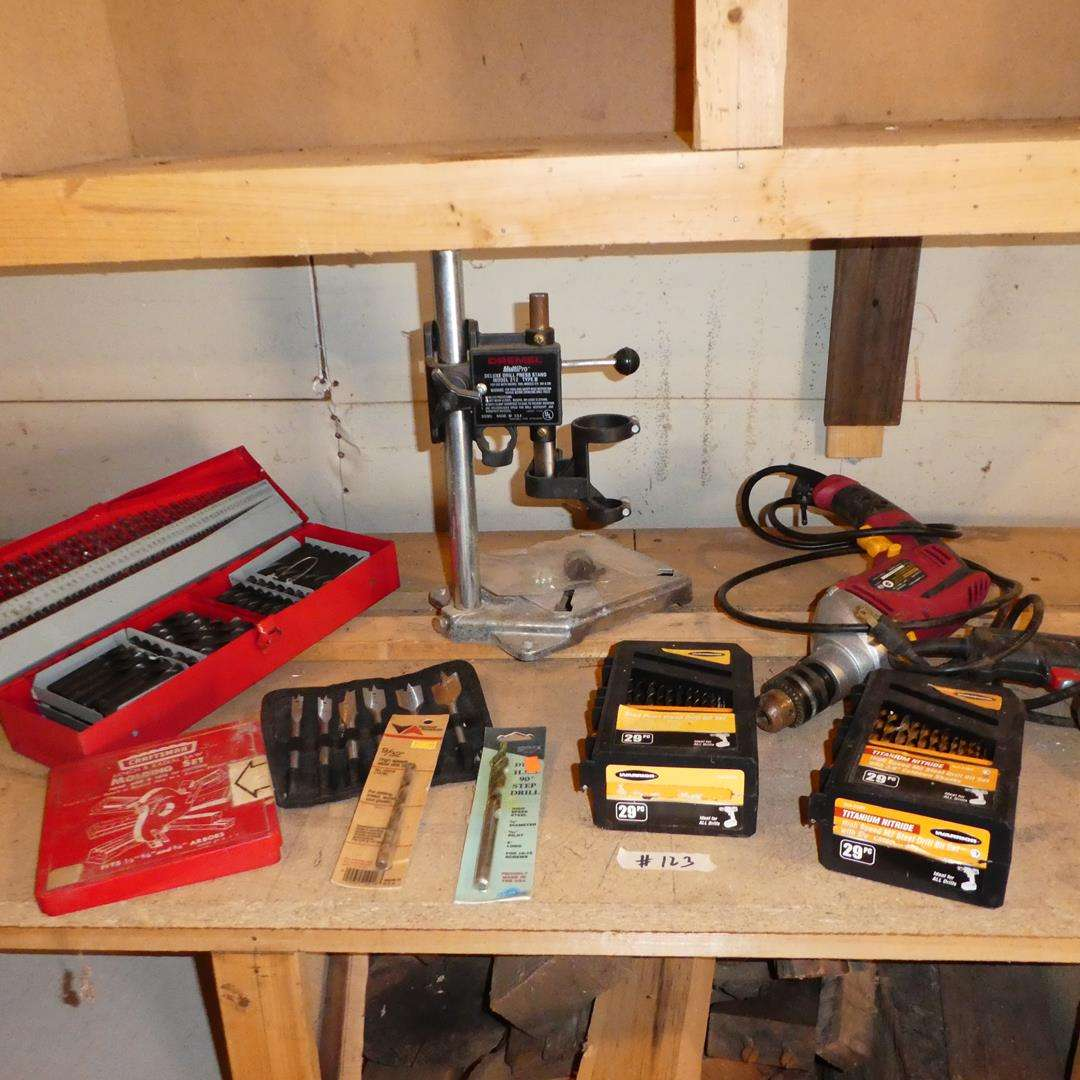 Lot # 123 - Drill Bits, Dremel Deluxe Drill Press Stand & Electric Drills (main image)