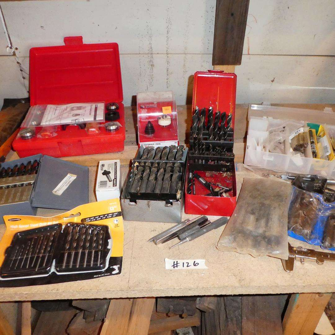 Lot # 126 - Large Drill Bits, PSI Collect Chucking System, Drill Bits & Wood Working Tools (main image)