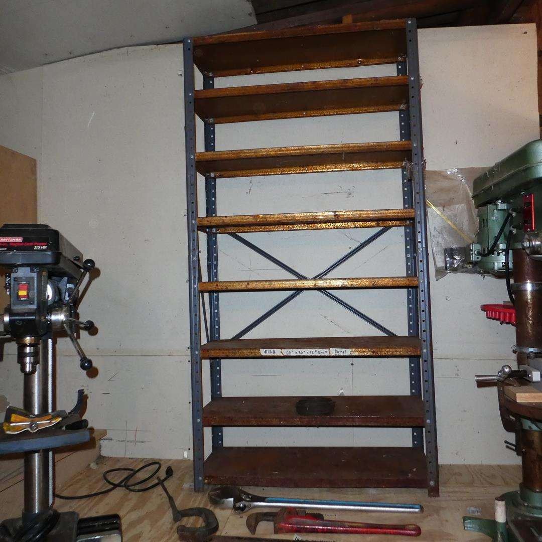 Lot # 128 - Small Metal Shelf, Crescent Wrench, Pipe Wrench, Pry Bars & C-Clamp (main image)