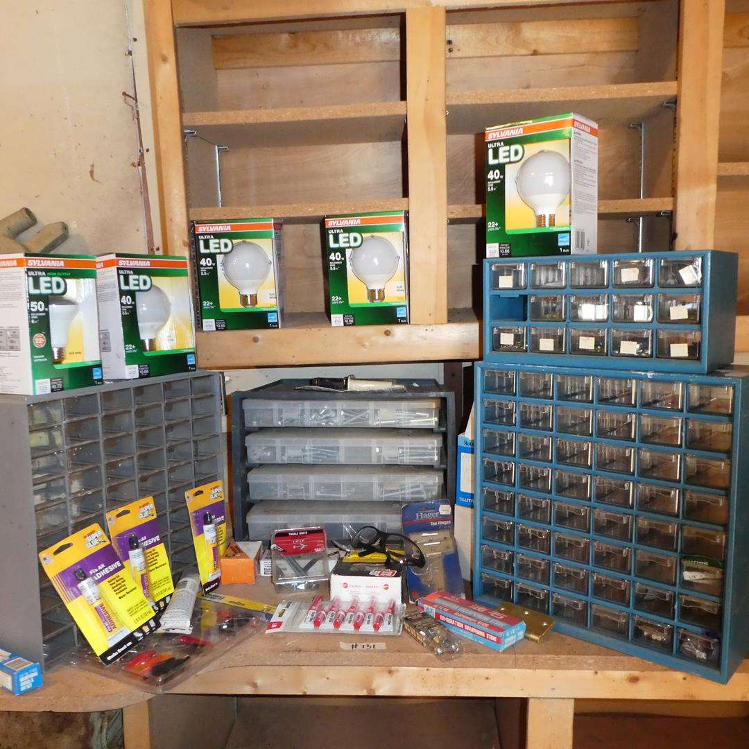Lot # 131 - LED Lightbulbs, Hardware Containers & Hardware (main image)