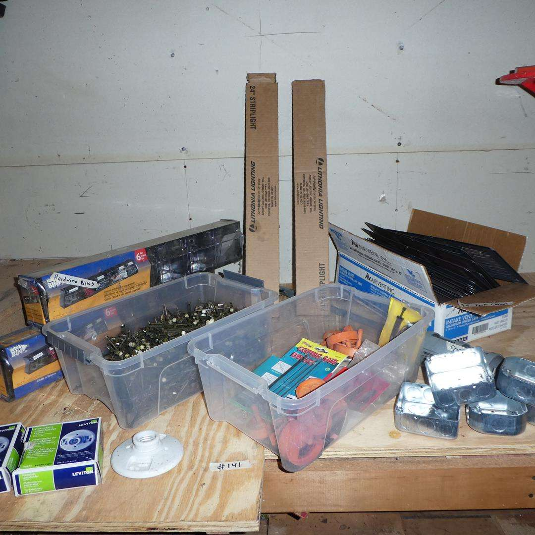 Lot # 141 - Hardware Bins, Nails, Strip Lights, Vent Covers, T-Squares & More (main image)