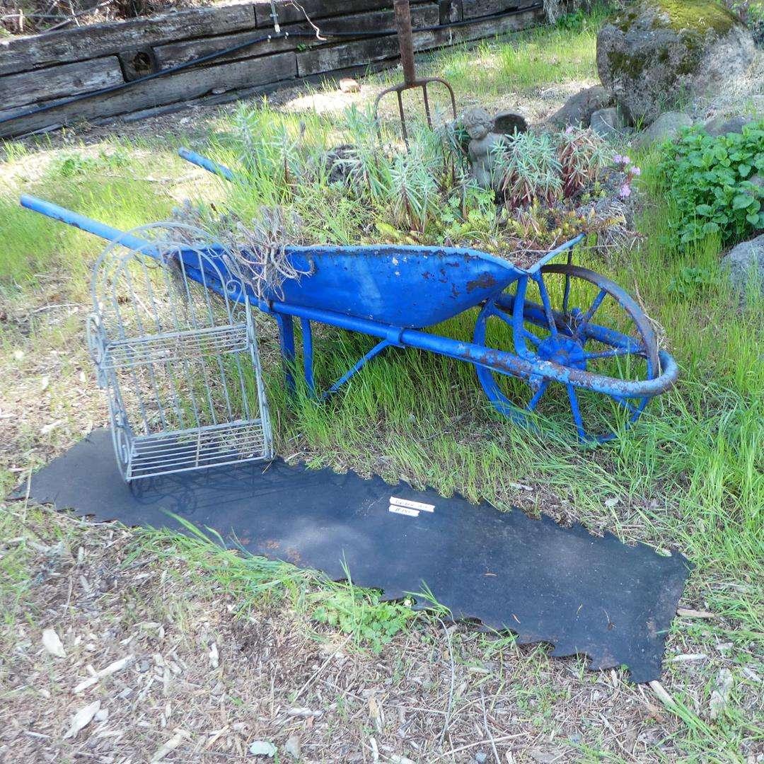 Lot # 145 - Garden Art Vintage Wheelbarrow, Metal Shelf & More (main image)