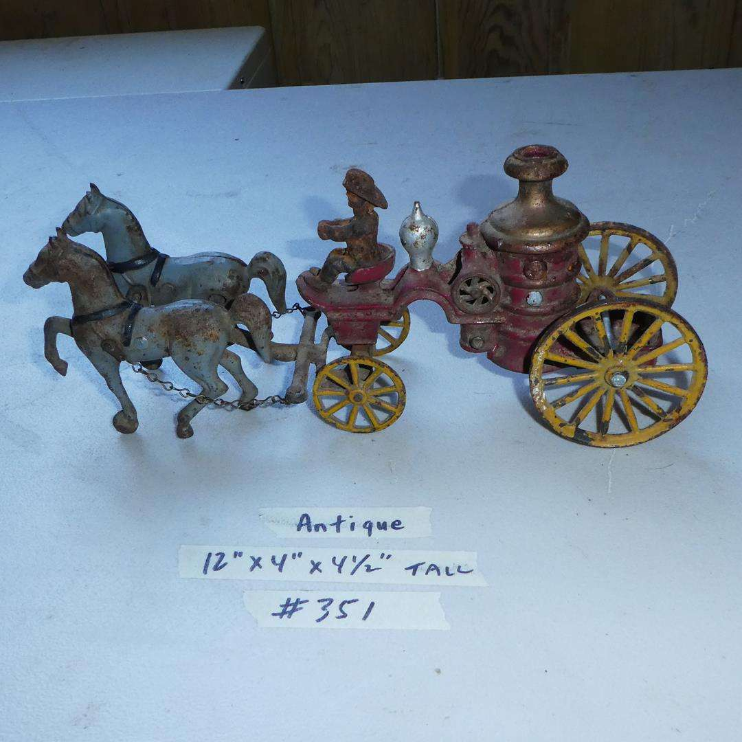 Lot # 351 - Antique Cast Iron Horse Drawn Fire Truck (main image)