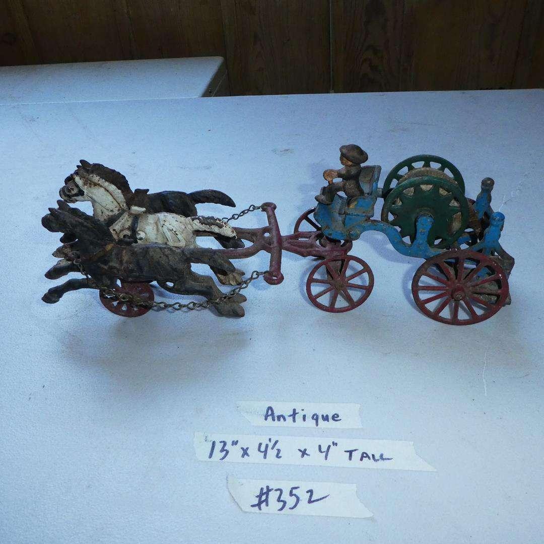 Lot # 352 - Antique Cast Iron 3 Horse Drawn Fire Cart Hose Reel (main image)