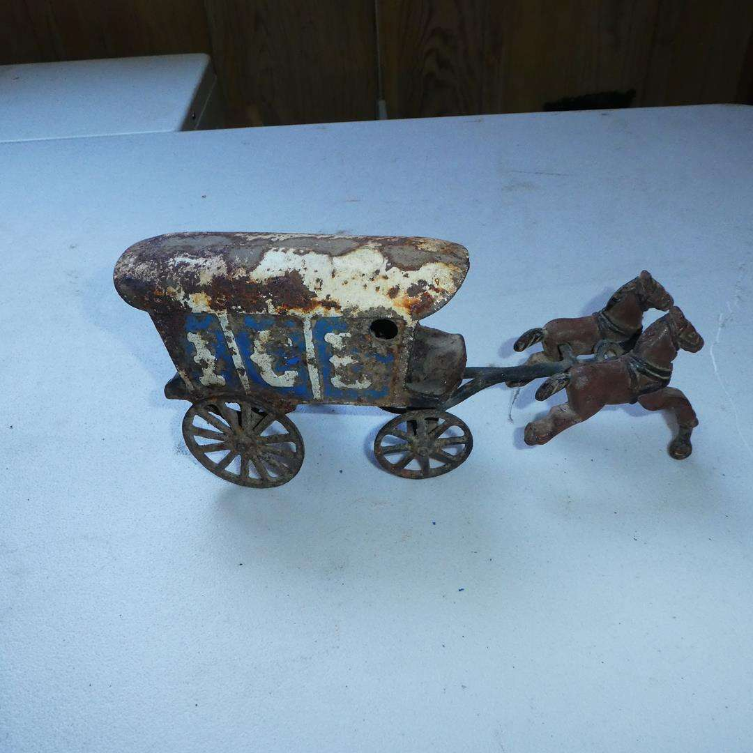 Lot # 353 - Antique Cast Iron Horse Drawn Ice Wagon (main image)