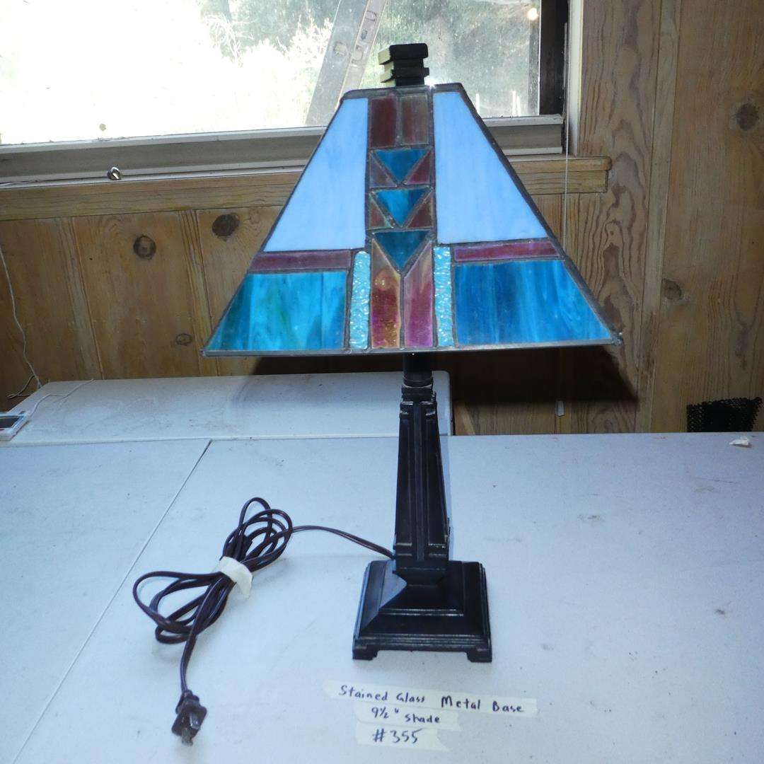 Lot # 355 - Stained Glass Metal Base Table Lamp (main image)