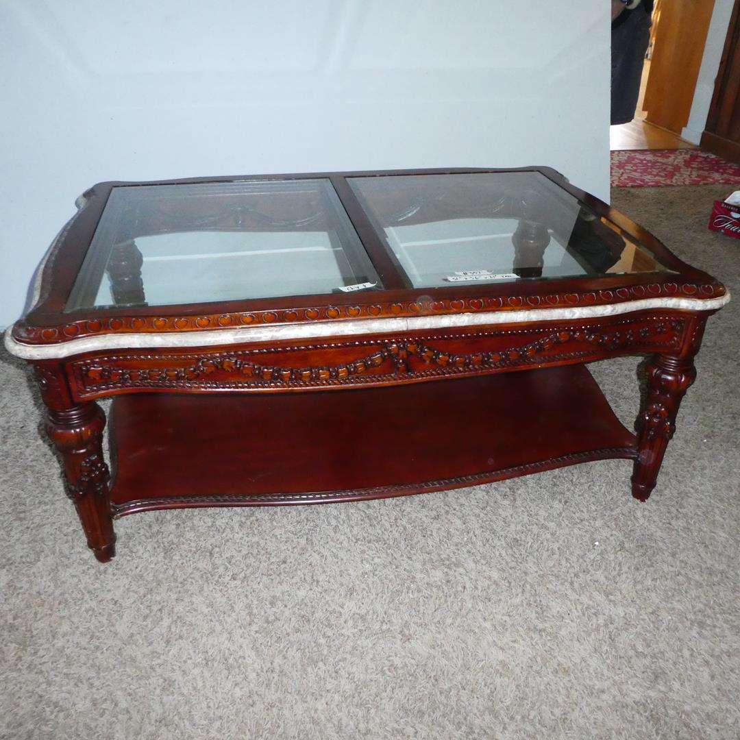 Lot # 357 - Two Panel Beveled Glass Ornate Wooden Coffee Table (main image)