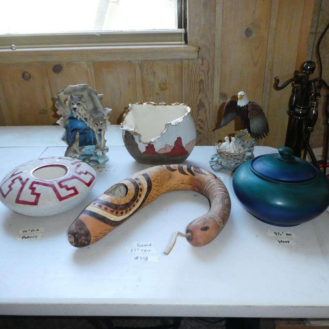Lot # 358 - Snake Gourd, Southwest Vases, Resin Wolf & Ceramic Eagles Figurines (main image)