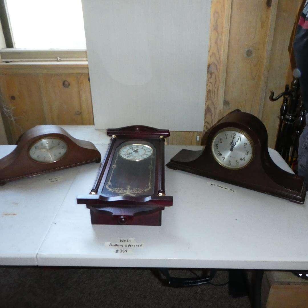 Lot # 359 - Vintage GE Westminster Chime Electric Clock, Daniel Dakota Westminster Chime Quartz Clock & Sessions Mantle Clock (main image)