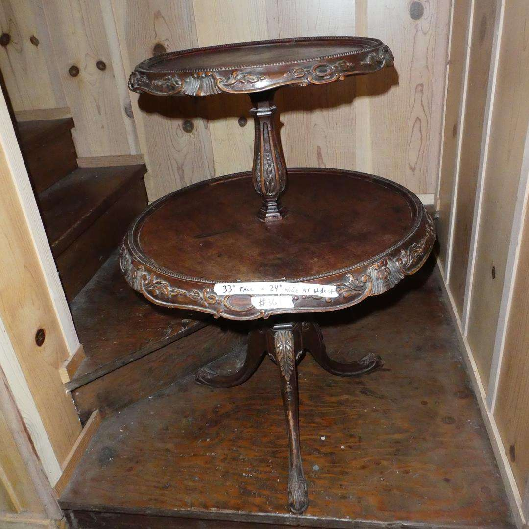 Lot # 361 - Antique Two Tier Round Wooden Serving / Accent Table (main image)