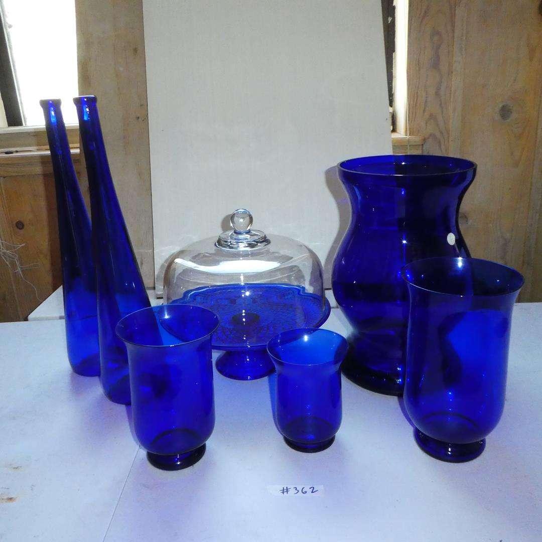 Lot # 362 - Cobalt Blue Glass Covered Cake Plate & Vases (main image)