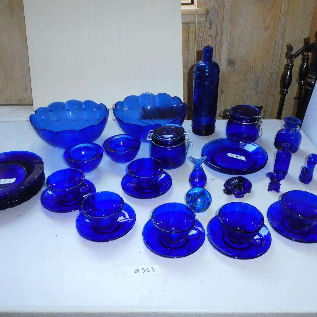Lot # 363 - Cobalt Blue Glass Plates, Bowls, Teacups, Figurines & Jars (main image)