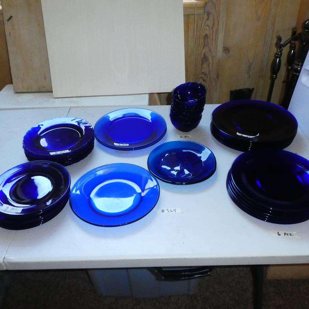 Lot # 364 - Cobalt Blue & Sea Blue Glass Plates & Bowls (main image)