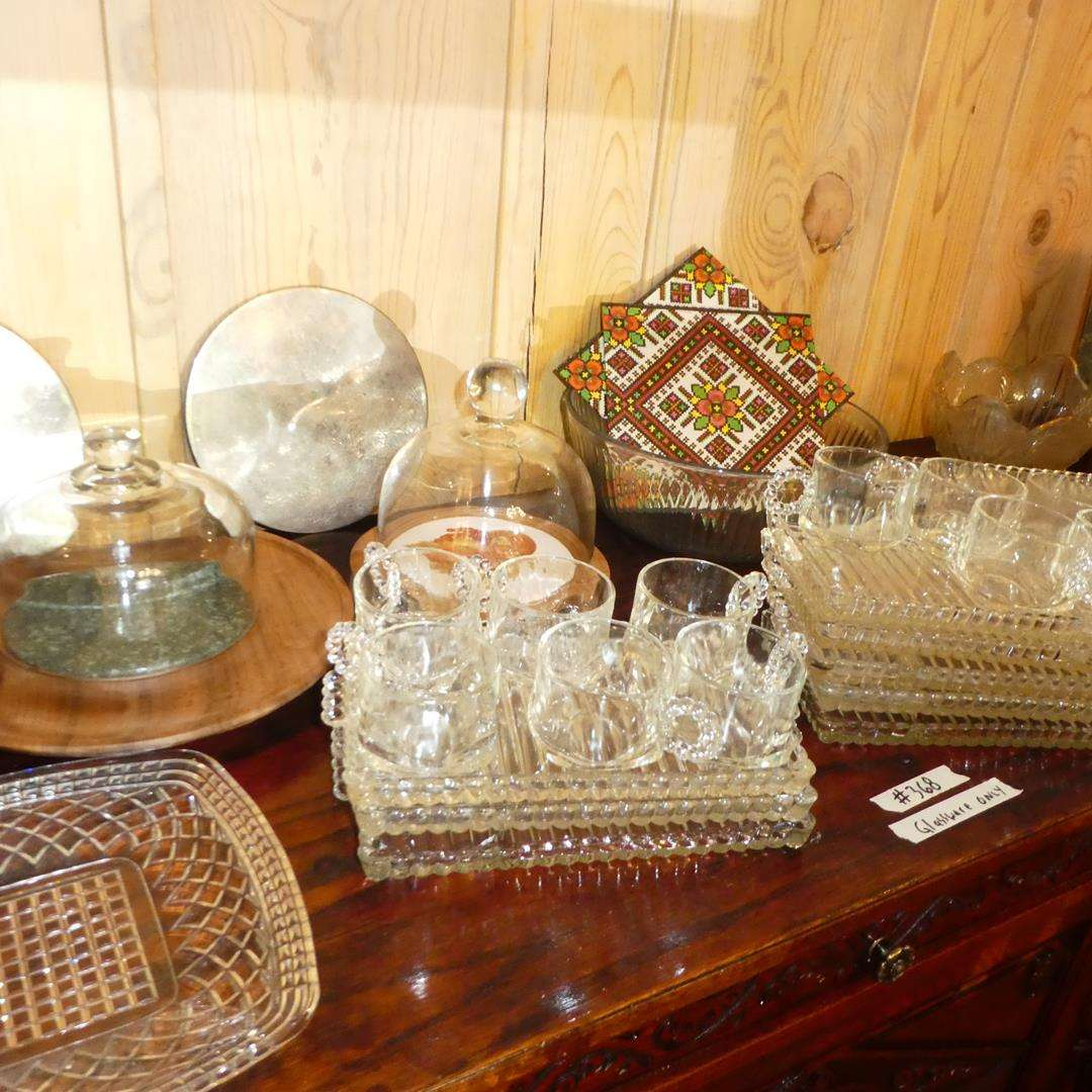 Lot # 368 - Vintage Glass Snack Plates w/Cups & Serving Pieces (main image)