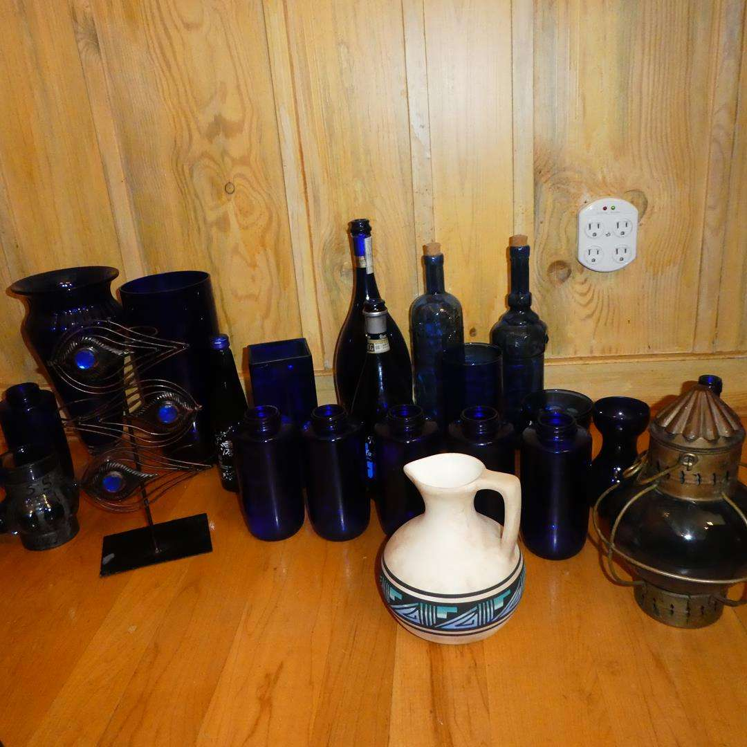 Lot # 369 - Tung Woo Hong Kong Oil Lamp, Cobalt Blue Glass & Signed Southwest Pottery Pitcher (main image)