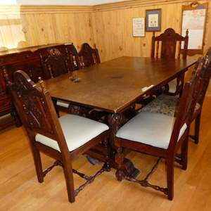 Auction Thumbnail for: Lot # 370 - Vintage Ornate Wooden Dining Table & Six Carved Wooden Chairs