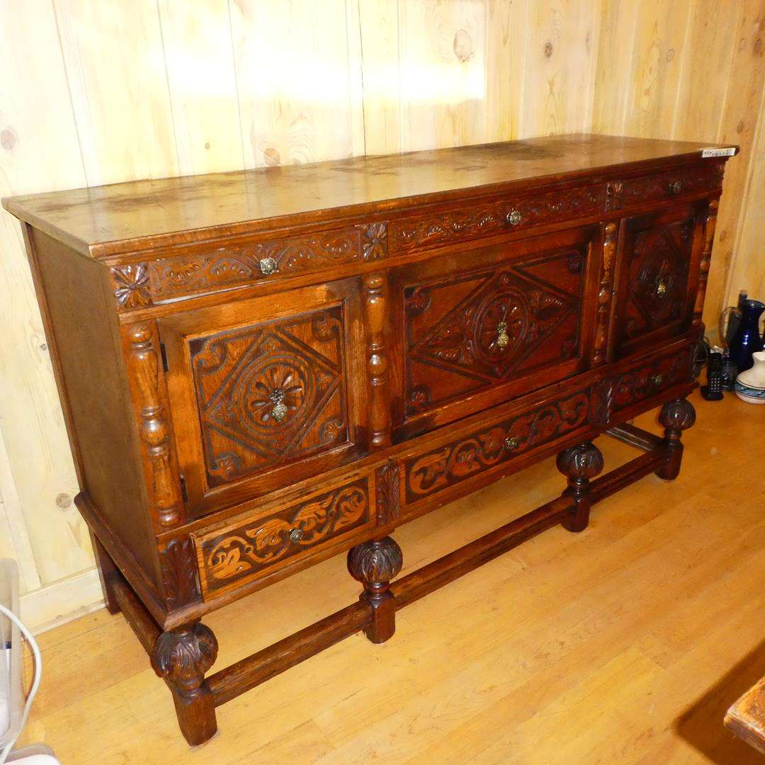 Lot # 371 - Antique Ornately Carved Wooden Buffet (Dovetailed Drawers) (main image)