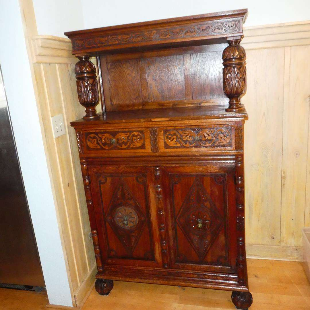 Lot # 372 - Antique Ornately Carved Wooden China Cabinet (Dovetailed Drawers) (main image)