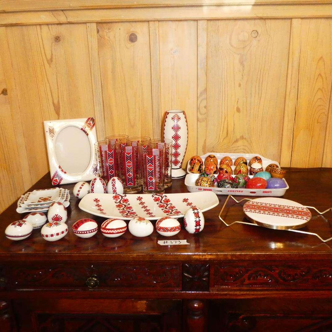 Lot # 373 - Picture Frame, Tumblers, Western Germany Ashtrays, Ceramic Eggs & Real Ukrainian Handmade Easter Eggs (main image)
