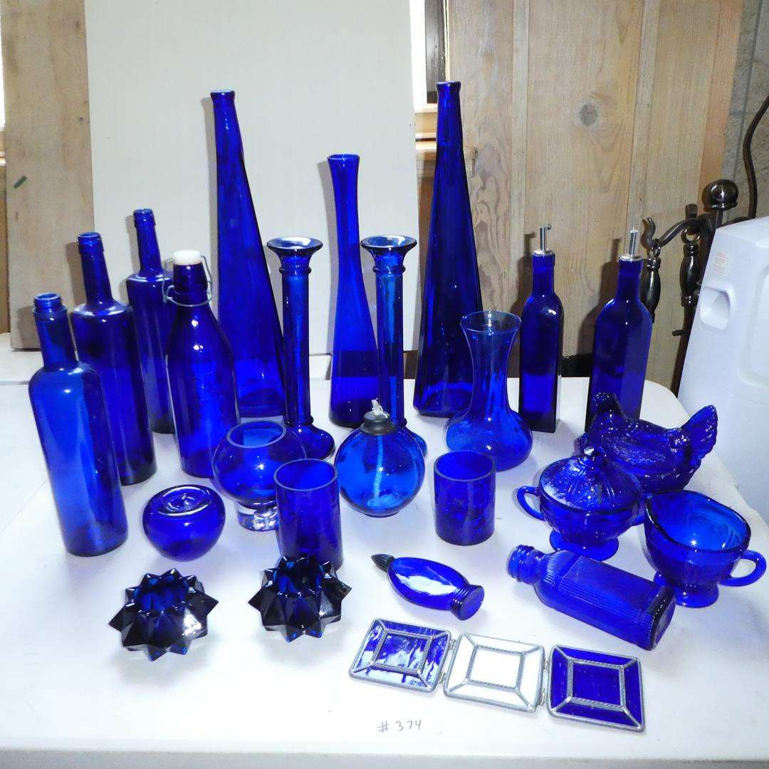 Lot # 374 - Cobalt Blue Glass Collection (main image)