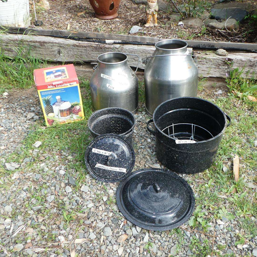 Lot # 378 - Juice Extractor (NIB), Two Stainless Milk Cans & Graniteware Canning Pots (main image)