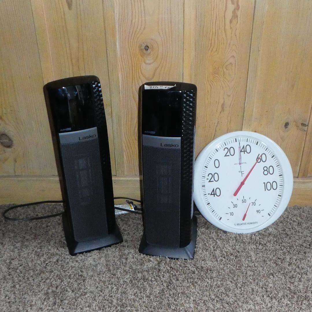 Lot # 383 - Two Lasko Heaters & Indoor/Outdoor Thermometer (main image)