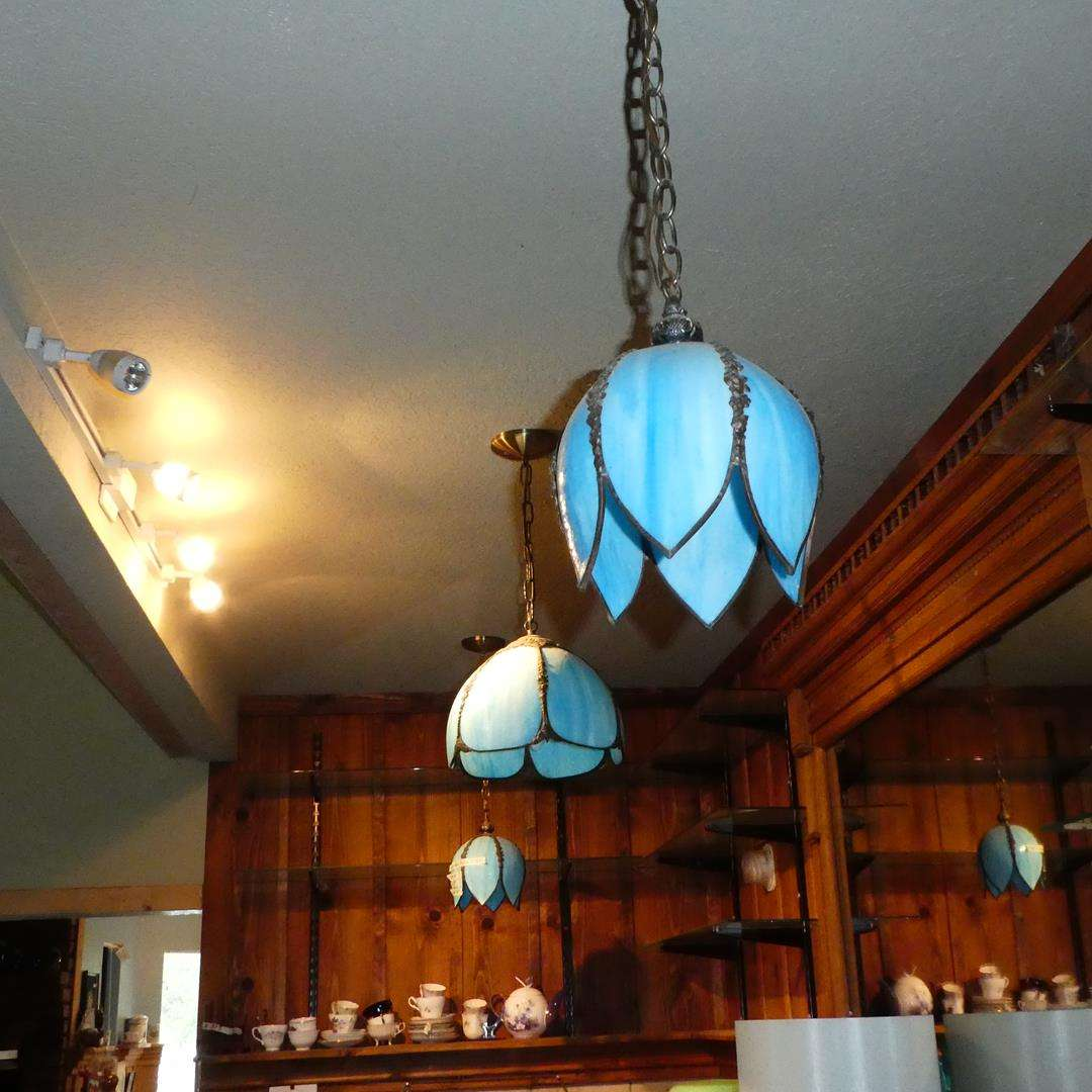 Lot # 384 - Three Vintage Retro Stained Glass Tulip Light Fixtures (main image)