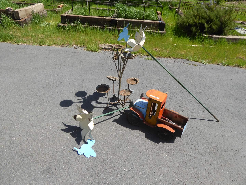 Lot # 186 - Metal Planter Stand, Metal Flower Decor & Metal Truck  (main image)