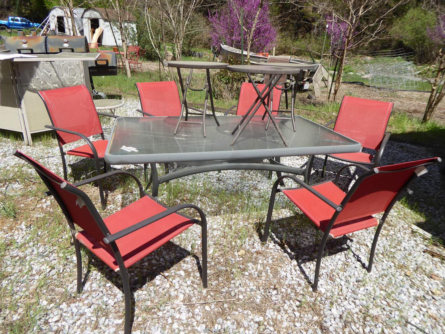 Lot # 197 - Outdoor Patio Table w/Six Chairs, 3 Smaller end tables included  (main image)