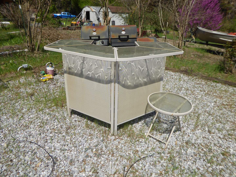 Lot # 199 - Outdoor Metal Patio Bar W/Glass Top  (main image)