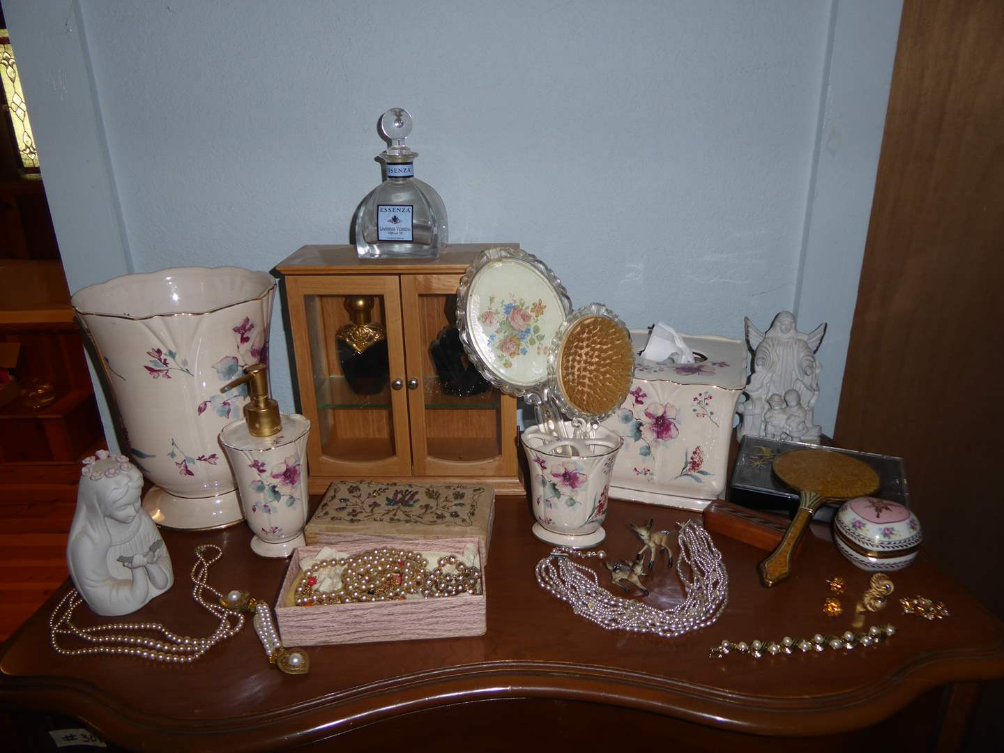 Lot # 303 - Perfume Bottles, Costume Jewelry & Bathroom Decor  (main image)