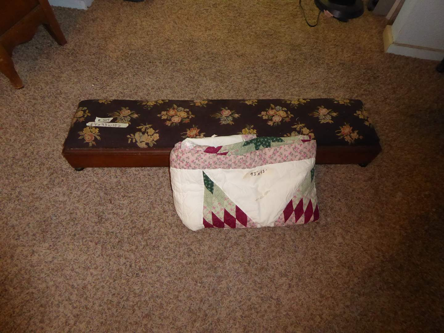Lot # 304 - Victorian Needlepoint Prayer Bench & Vintage Quilted Square   (main image)