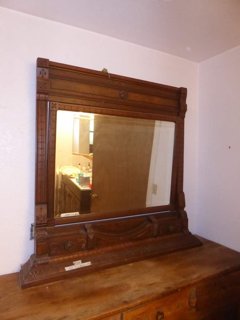 Lot # 305 - Beautiful Antique Wooden Mirror  (main image)