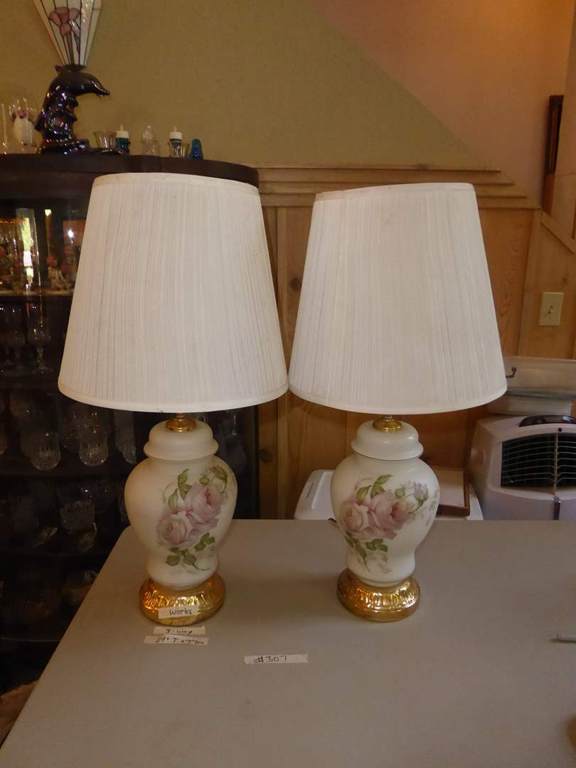 Lot # 307 - Two Matching Glass Table Lamps  (main image)