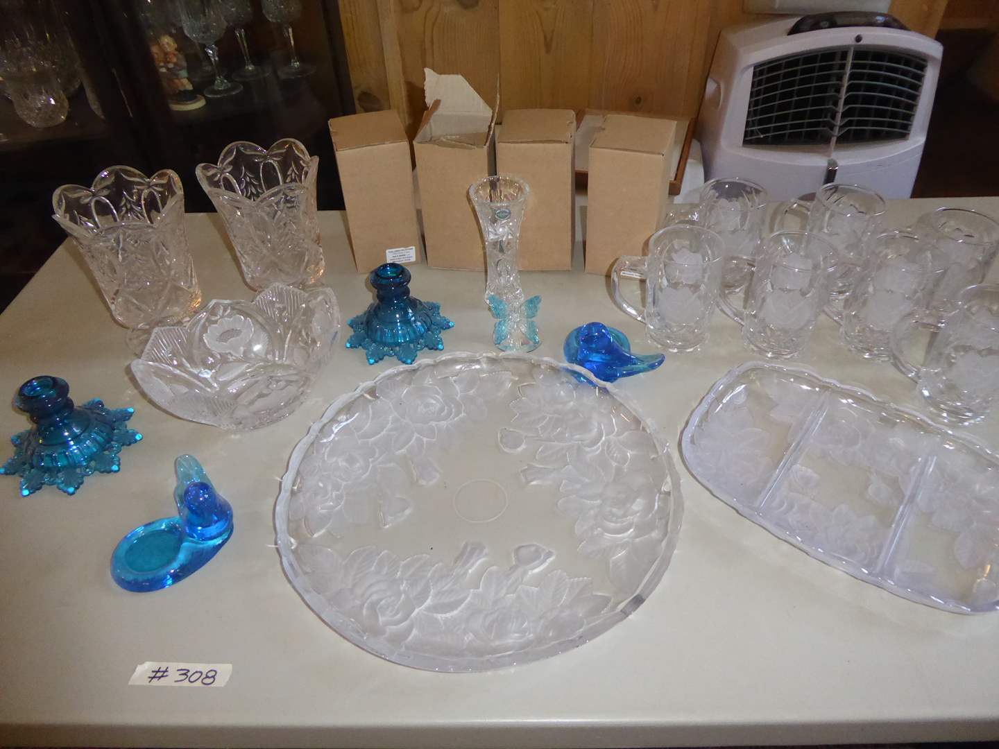 Lot # 308 - Lenox Crystal Vases, Etched Frosted Rose Mugs & Blue Glass Candle Holders  (main image)