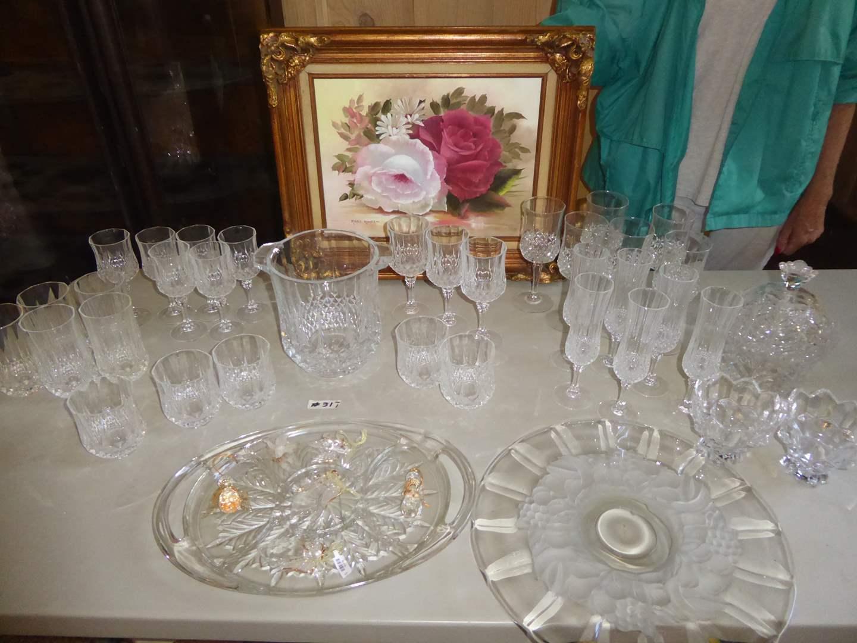 Lot # 317 - Glassware, Serving Dishes & Framed Print  (main image)