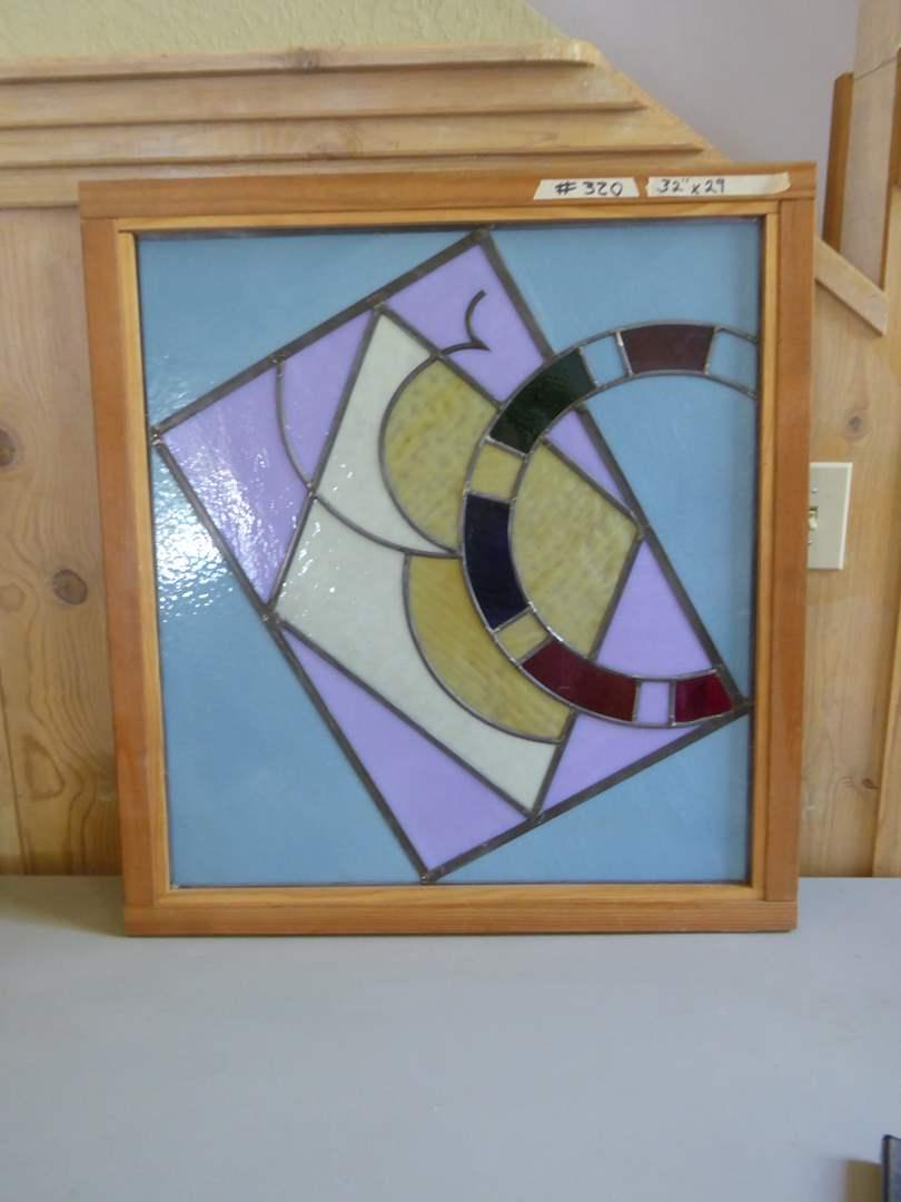 Lot # 320 - Handmade Framed Leaded Glass Art (main image)