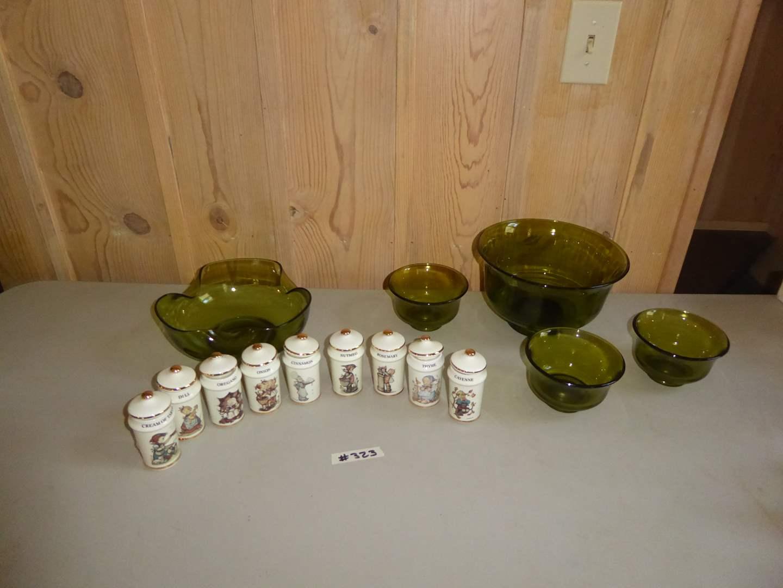 Lot # 323 - Nine MJ Hummel Spice Jars & Vintage Green Glass Bowls  (main image)