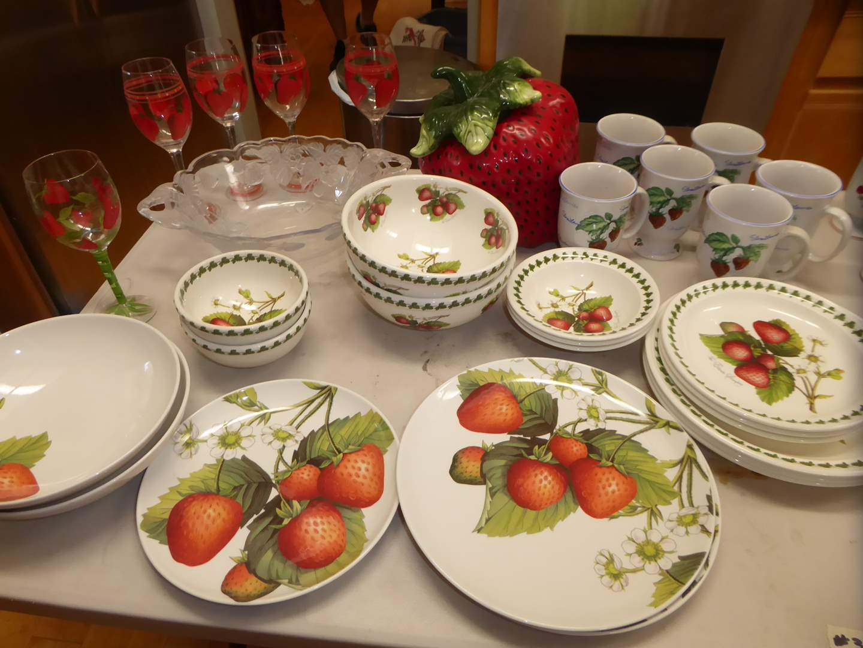 Lot # 326 - Strawberry Cookie Jar, Plates, Bowls, Cups & Stemware  (main image)