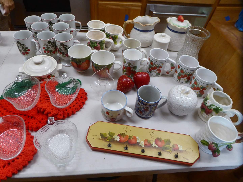 Lot # 327 - Strawberry Lot - Mugs, Pot Holders, Bowls & More  (main image)