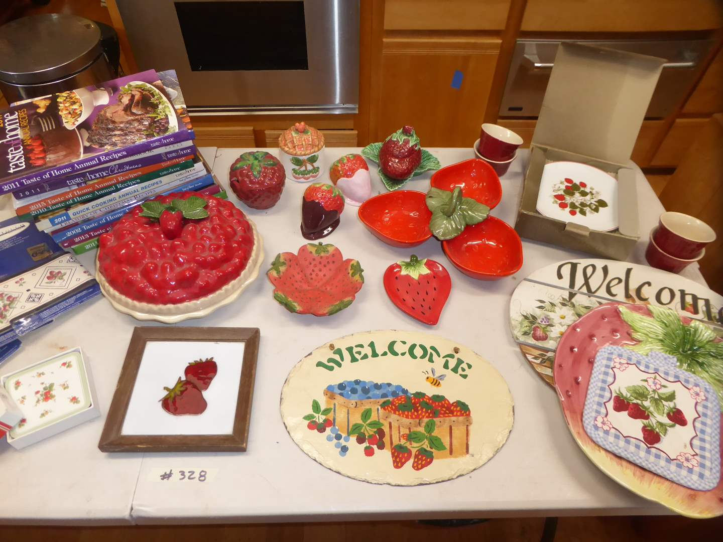 Lot # 328 - Strawberry Lot - Strawberry Pie Dish, Border, Shakers & Cookbooks  (main image)