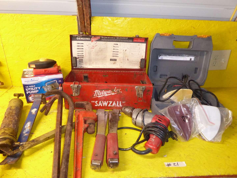 Lot # 21 - Milwaukee Box, Milwaukee Drill, RYOBI Corner Cat & Utility Pump  (main image)