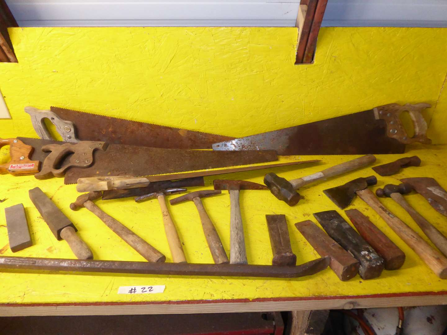 Lot # 22 - Old Saws, Chisels & Hand Tools  (main image)