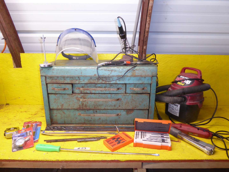Lot # 23 - Mini Shop Vac, Metal Tool Box & Tools  (main image)